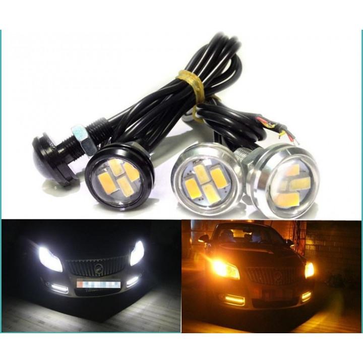Светодиодные огни Eagle Eye Черный (23ММ) 3W (2шт) Белый и Желтый свет