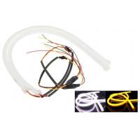 (TDRL) DRL гибкие светодиодные ленты ДХО с повторителем поворота 30 СМ. Белый/Желтый 16W