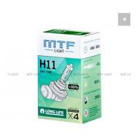 Галогенная лампа MTF Light автомобильная H11 24V 70W LONG LIFE x4