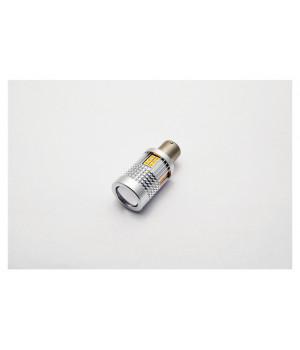 """Лампа светодиодная для поворотника S25 (1156 180"""") 30 SMD (3030) (Линза) Желтый 12V"""
