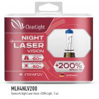 Лампа H4(Clearlight)12V-60/55W Night Laser Vision +200% Light (2 шт.)